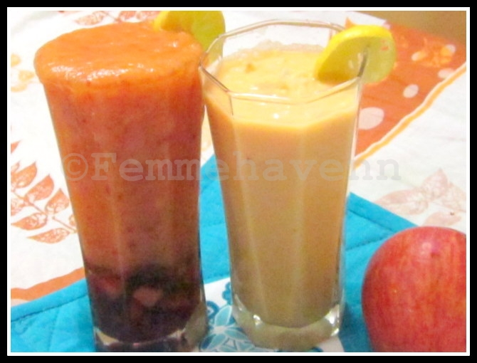 Apple-Papaya(L) and Ginger-Papaya(R) Smoothies