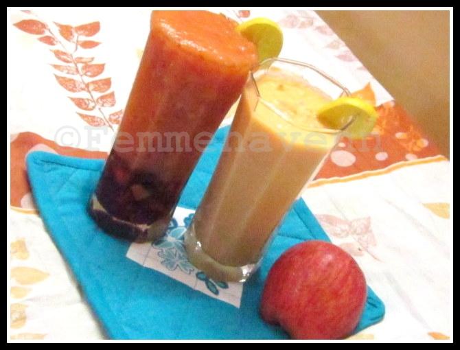 Apple-Papaya(L) and Ginger-Papaya(R) Smoothies