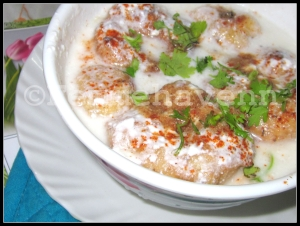 Dahi-Vada (lentil Snack/ dumpling dipped in yogurt)
