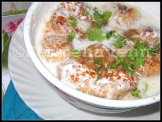 Dahi-Vada (lentil Snack/ dumpling dipped in yogurt)