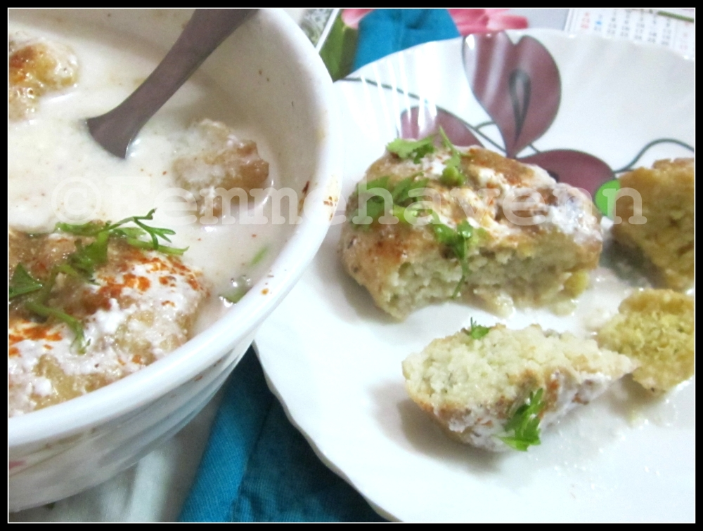 Dahi Vada and Moong Vada (R on plate)