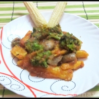 Hot sauced Broccoli-Mushroom-Babycorn