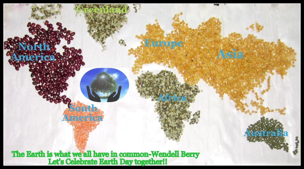 Lentils forming World:Food Art of the month (Special on World Earth Day)