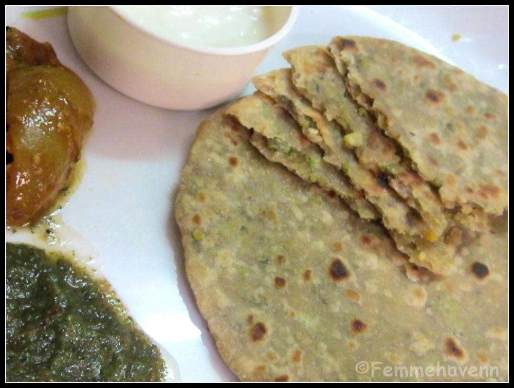 Protein Paratha/Chana Paratha (Green-Chickpea Flat-bread)
