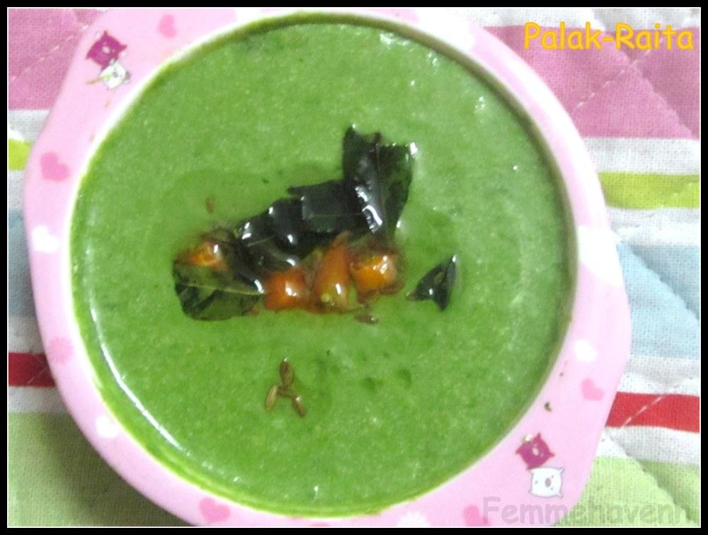 Palak Raita (Spinach Raita or Spinach in Yogurt Dressing)