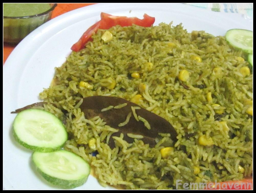 Femmehavenn: Spinach-Corn Hariyali Pulao/Pilaf