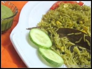 Spinach-Corn Hariyali Pulao/Pilaf