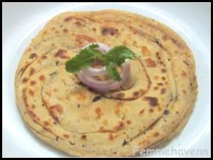 Pudina-Paratha/Lachha-Paratha/Mint Lachha Paratha