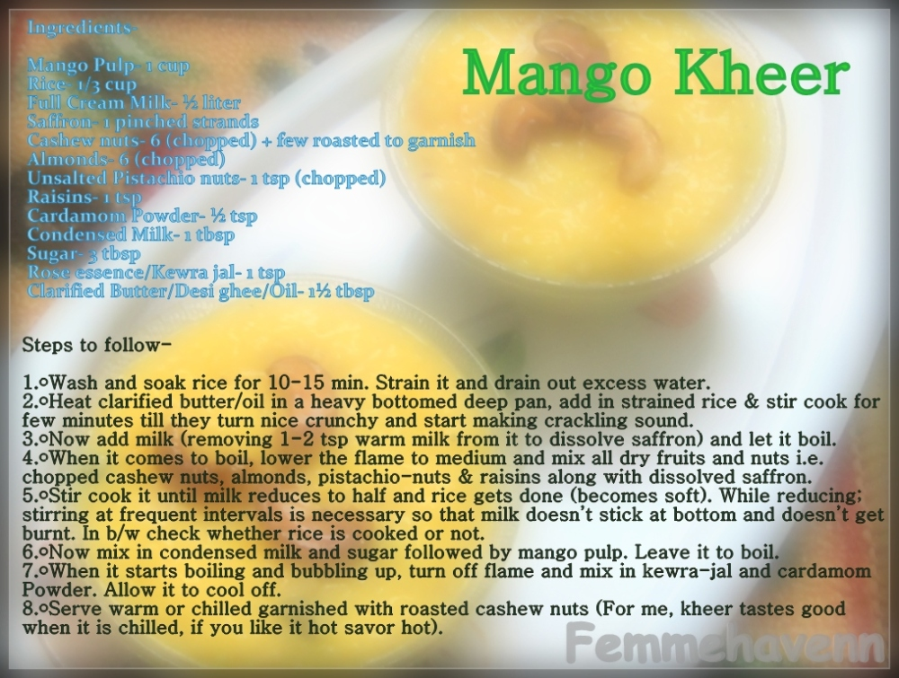 Mango KheerPudding or Mambazha Payasam