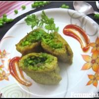Stuffed Plantain-Rolls (Raw/Unripe Banana-Rolls stuffed with Peas/Kacche Kele ke Rolls)