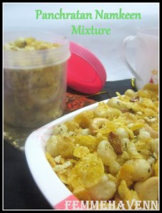 Panchratan Namkeen Mixture-Snacky Mixture of Foxnuts-Corn Chiwda with flattened rice, cashew nuts and raisins flavoured with an exclusive flavorful seasoning-spices mix