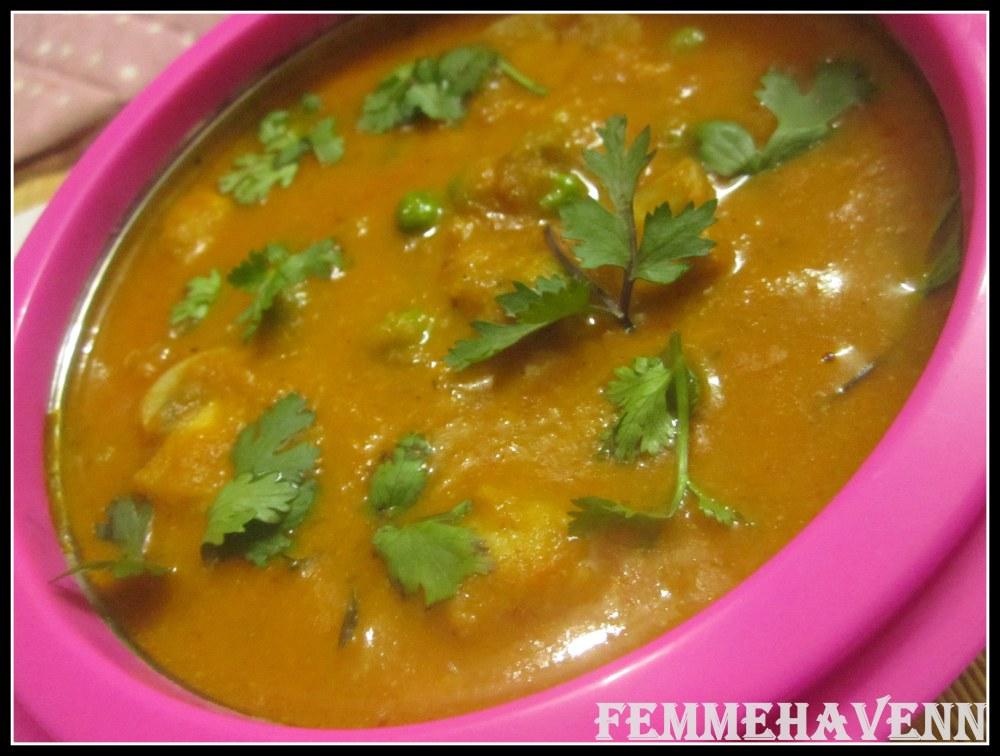 Mushroom Matar Makhni/Mushroom Peas Butter Masala